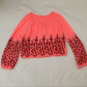 Free People Neon Coral Crop with Embroidery